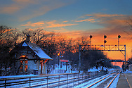 The small depot at The Highlands in Hinsdale, IL at sunset on a cold December day. This is an HDR image made from several digital captures.