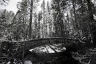 Winter scenes in Yosemite Valley located in the Yosemite National Park..A stone bridge in the Yosemite Valley.