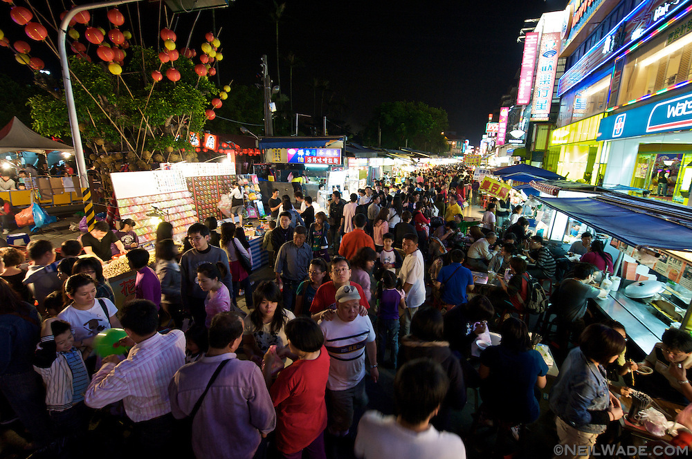 The very crowded Loudong Night Market in Yilan, Taiwan.