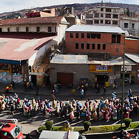 A panoramic image showing the thousands of demonstrators in the capital city of La Paz, Bolivia a few days before elections. Protests and demonstrations are very common in Bolivia.