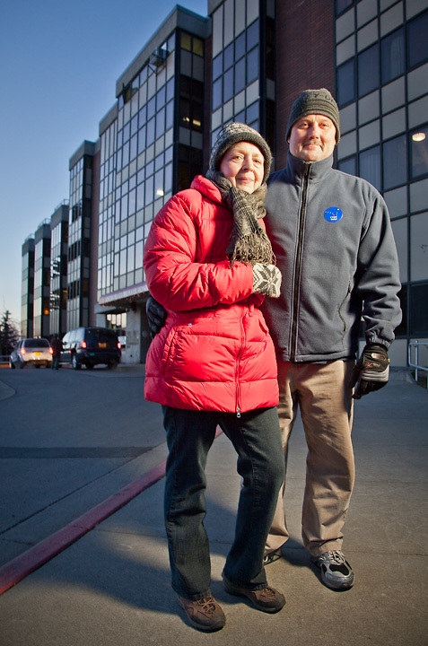 Gail and Hal Homer after casting their ballots on election night at the Anchorage Pioneer Home, downtown Anchorage.