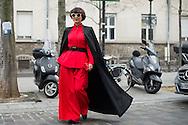 Red Pantsuit and Black Cape, Outside Iris van Herpen SS2017