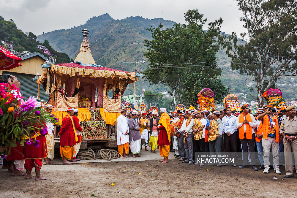 The chariot of Lord Raghunath ready to be pulled to the lower ground. Kullu Dussehra is the Dussehra festival observed in the month of October in Himachal Pradesh state in northern India. It is celebrated in the Dhalpur maidan in the Kullu valley. Dussehra at Kullu commences on the tenth day of the rising moon, i.e. on 'Vijay Dashmi' day itself and continues for seven days. Its history dates back to the 17th century when local King Jagat Singh installed an idol of Raghunath on his throne as a mark of penance. After this, god Raghunath was declared as the ruling deity of the Valley.