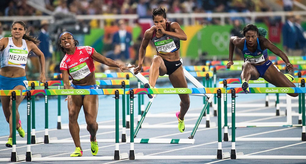 Phylicia George runs the Olympic 100m meter hurdles in Rio de Janeiro on August 17, 2016.