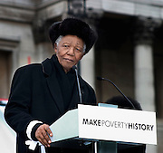 Nelson Mandela speaks to the crowd at the launch of the Make Poverty History campaign, Trafalgar Square, London.