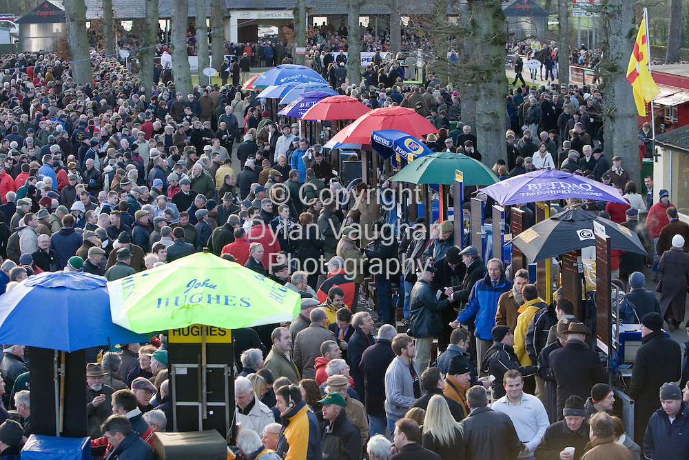 24/1/2008.Over 8,000 fans from across the region attended Thyestes race day at Gowran Park Golf and Race Course..Pictured are some of the many race fans enjoying the day..Picture Dylan Vaughan.