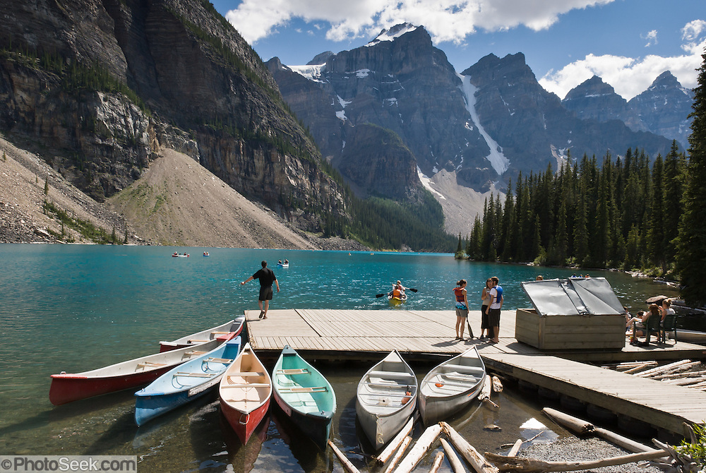 Canoes are rented at Moraine Lake Lodge dock, in Banff National Park, Alberta, Canada. This is part of the big Canadian Rocky Mountain Parks World Heritage Site declared by UNESCO in 1984.