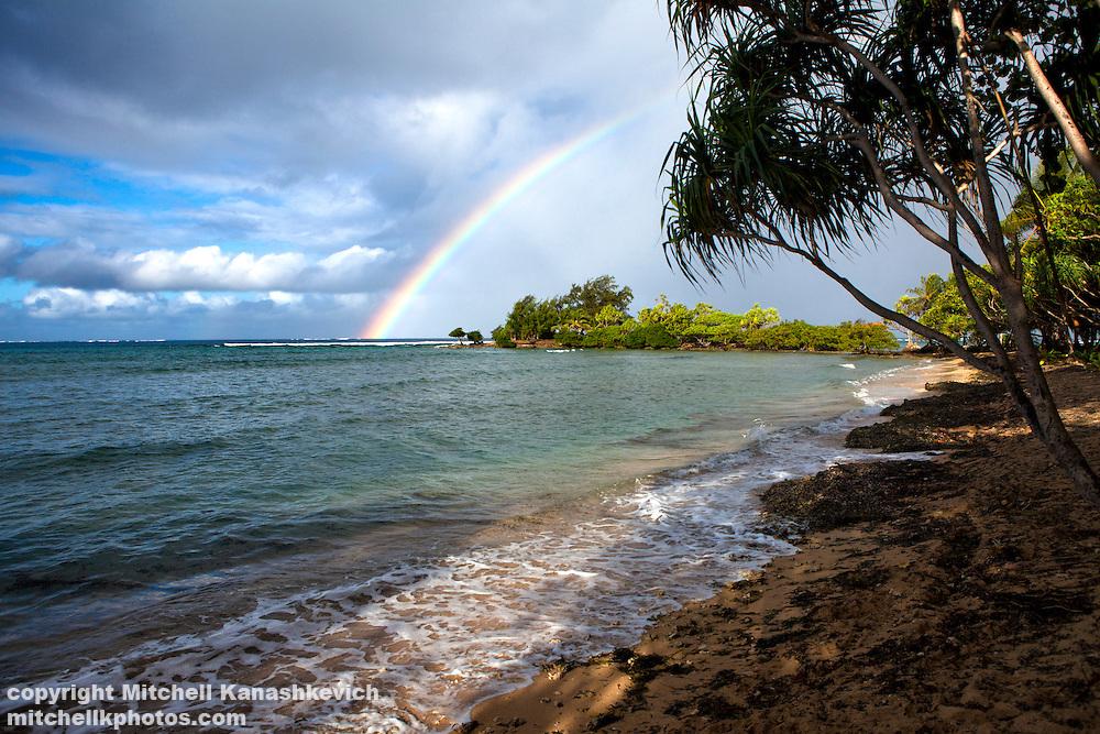 Rainbow over the tip of Uleveo/Maskelyne Island, Malampa Province, Malekula, Vanuatu