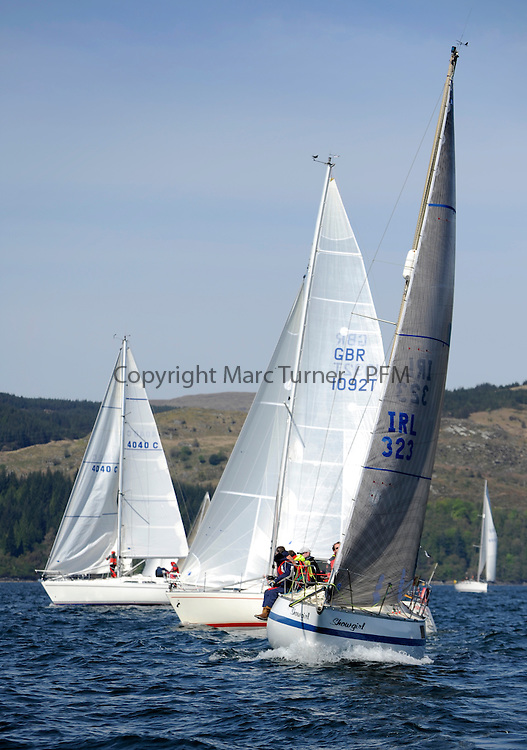 The Clyde Cruising Club's Scottish Series held on Loch Fyne by Tarbert. Day 2 racing in a perfect southerly<br /> <br /> IRL323, Showgirl, Neil Marchant, Waterford Harbour SC, Yamaha 29
