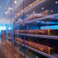 Well preserved old books behind glass - open in case of research!