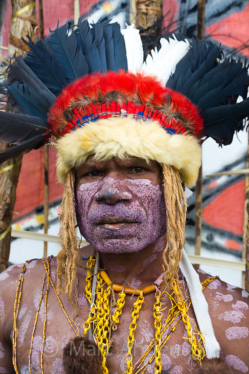 Portrait of a man dressed in traditional tribal outfit for the Goroka Show, an annual festival in the Papua New Guinea Highlands