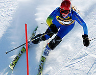NEWS&GUIDE PHOTO / PRICE CHAMBERS.Jackson senior Desiree Bridges eyes her next gate as she runs the slalom course at the Wyoming High School State Ski Meet on Saturday. She finished with a combined time of 1:50.72. Bridges won the All-State points race but Pinedale put an end to the Bronc girls nine-year run of state championships.