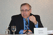 Kenneth McCarthy, Managing Director of NY Metropolitan Area Research, Cushman and Wakefield provides his insight on the economy during a panel discussion at the Manhattan Chamber of Commerce Annual Economic Outlook Breakfast was held at the New York Athletic Club in New York on April 4, 2011. The breakfast was sponsored by Wells Fargo.