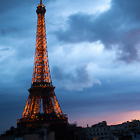 Europe, France, Paris. Eiffel Tower. Eiffel Tower in Stormy Sky.