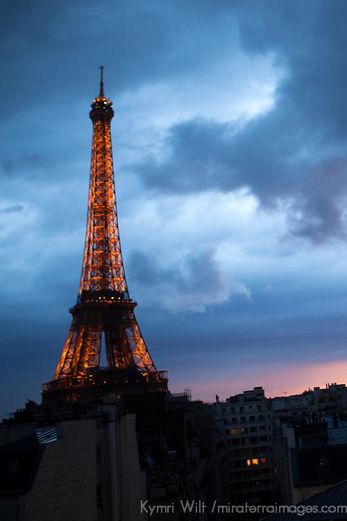 Europe, France, Paris. Eiffel Tower. Eiffel Tower in Stormy Sky.