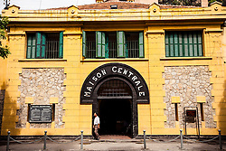 "Facade of the Hoa Lo prison museum, formely known as the ""Hanoi Hilton"" during the Vietnam-American War, Hanoi, Vietnam, Southeast Asia."
