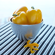 Yellow Peppers in metal bowl