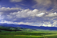 Overlooking Big Hole Valley and Big Hole National Battlefield in early summer. Beaverhead Mountains west of Wisdom, southwest Montana