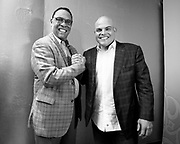 SAN JUAN, PUERTO RICO - JANUARY 24, 2017: Newly Elected Hall of Famer Ivan Rodriguez smiles for a photo with fellow Hall of Famer Tony Perez, after a press conference for the celebratory return of Rodriguez to Puerto Rico, at the Hotel Caribe Hilton on January 24, 2017 in San Juan, Puerto Rico. (Photo by Jean Fruth)
