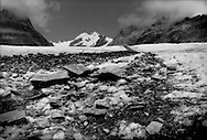 Glacial moraine stripe, or medial moraine, running the length of the Great Aletsch Glacier marking the spot where two glaciers met and formed a larger, wider glacier.  All glaciers carry some of the soil and rock rubble along their edges, called lateral moraine, and when glaciers meet, this debris is trapped and carried along with the advancing river of ice to its end.  Although the Great Aletsch Glacier is rapidly receding, it is still estimated to be 400 m (1312 m) deep at this point.