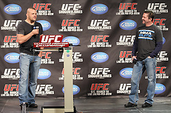 March 18, 2011; Newark, NJ; Former UFC Light Heavyweight Champion Chuck Liddell and Mike Goldberg speak to fans before the weigh-ins at UFC 128 in Newark, NJ.