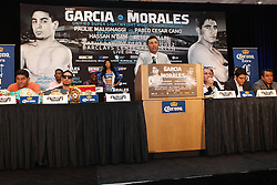 Aug 30, 2012; Brooklyn, NY, USA; Promoter Oscar DeLaHoya speaks at the press conference at New York Marriott at the Brooklyn Bridge. The press conference announced the upcoming October 20th fight card at the Barclay's Center.