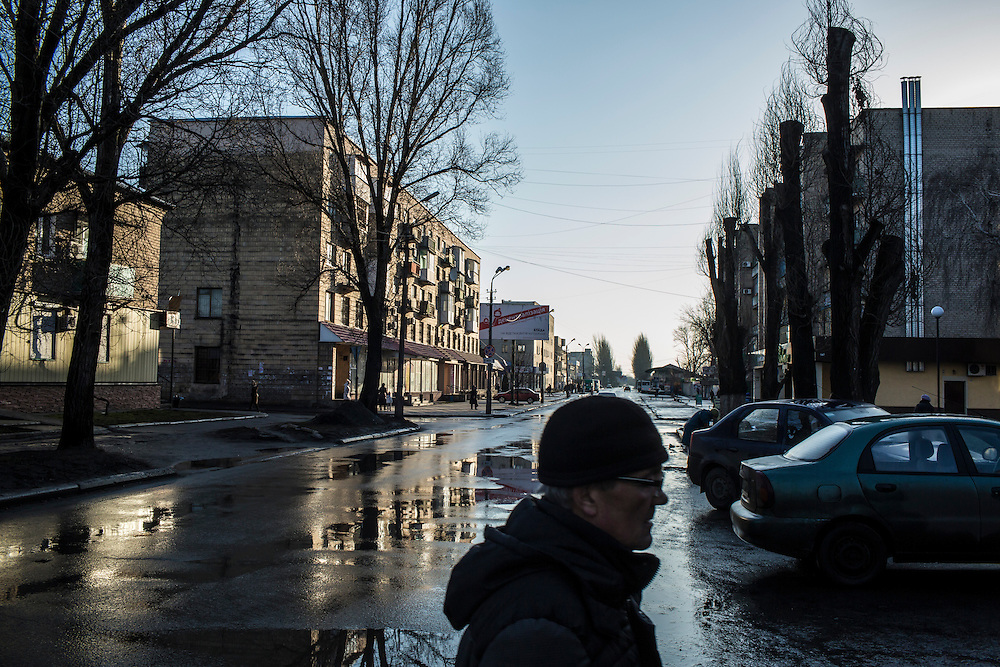 An early morning street scene on Tuesday, February 16, 2016 in Krasnoarmiisk, Ukraine.
