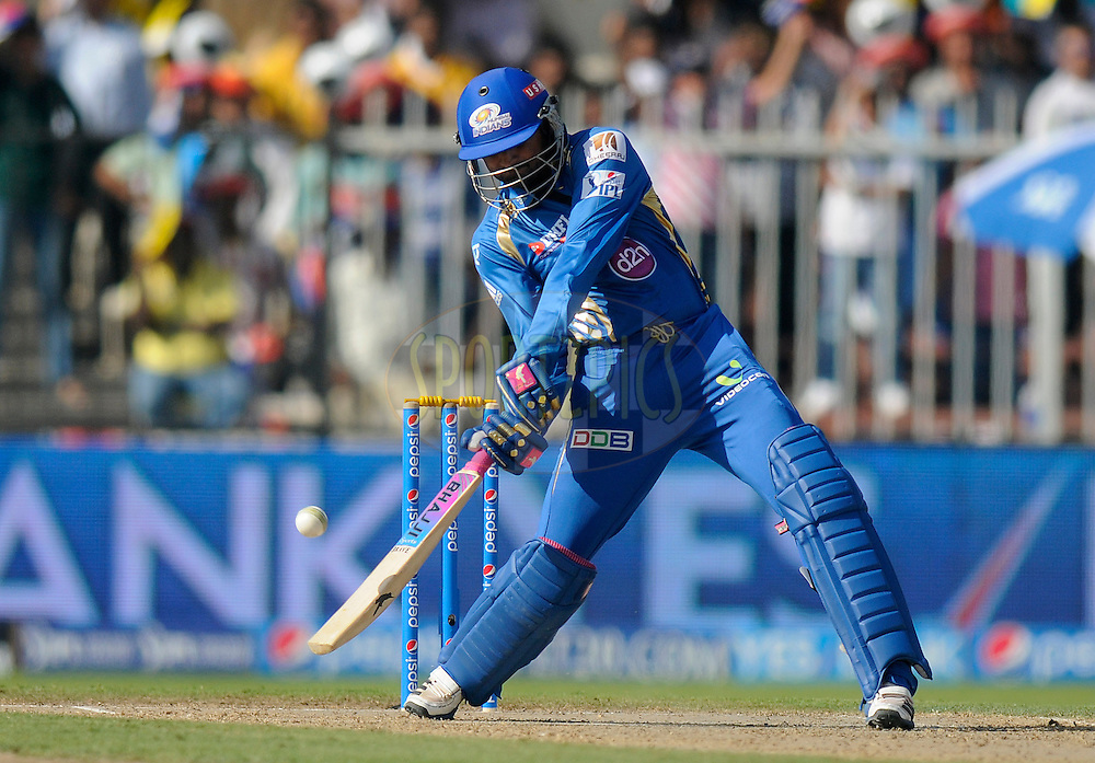 Harbhajan Singh of the Mumbai Indians bats during match 16 of the Pepsi Indian Premier League 2014 between the Delhi Daredevils and the Mumbai Indians held at the Sharjah Cricket Stadium, Sharjah, United Arab Emirates on the 27th April 2014<br /> <br /> Photo by Pal Pillai / IPL / SPORTZPICS