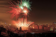 March 18, 2007. Valencia. Nit de Foc or Night of Fire. Fallas Festivities. Valencia, Las Fallas, March, 17. Valencia. Las Fallas Holidays and celebrations. , Winner `falla´of the special section. 1st price., Aerial view of Valencia, including Calatravas bridge