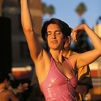 Patron enjoys music during festival in Silver Lake, a eclectic neighborhood in Los Angeles.