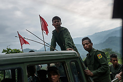 Laiza 20160913<br /> K.I.A. rebells on a truck in Laiza in Kachin State, Myanmar.<br /> Photo: Vilhelm Stokstad / Kontinent