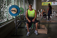 2016/03/10 &ndash; Medellin, Colombia: Joe Gonzalez Bettencourt, 38, tries to relax after some weight lifting exercises in the gymnasium at Atanasio Girardot Stadium, Medellin, 10th March, 2016. <br /> -<br /> Joe was a teenager when a paramilitary group approached him and his friends to become part of the Bloque Cacique Nutibara gang by starting to steal and kill. Joe and his friends refused because they didn&rsquo;t like violence and were more interested in party and living a life like any other normal teenager. But that refuse came with a high price. Joe and his best friend were chased on motorbike and the gang shot them. Joe was hit twice, one bullet hit his neck and another bullet hit his abdomen leaving through the lower back, making him paraplegic. His friend died. <br /> At the time of the incident, Joe was trying to become a football player, so sports were always part of his life. When he understood that he would be on a wheel chair he took on sports to keep going with his life. He started to play basketball, then tennis and in both he was National Champion. It was through his wife, who also is a Paralympics athlete, that he became interested in weigh throwing and javelin. On Joe&rsquo;s second tournament he became national champion, a title that he still holds today. During his progression on the sport he reached 4th in the world. Joe qualified to the Rio 2016 Paralympic games, but due to quota places he might not be able to go, something that he feels is quite unfair after so much work. <br /> Asked about his feeling for the responsible people that shot him, he says, &ldquo;We must be peaceful, forgive, but never forget. I will never forget because everyday I have to sit on this chair&rdquo;. (Eduardo Leal)