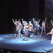 """WSU juniors Eric Byrd (left) and Heidi Gibberson (front right) play the parts of Tony and Maria during the finale of """"West Side Story"""" at the 2008 Arts Gala at Wright State University, Saturday, April 5, 2008."""