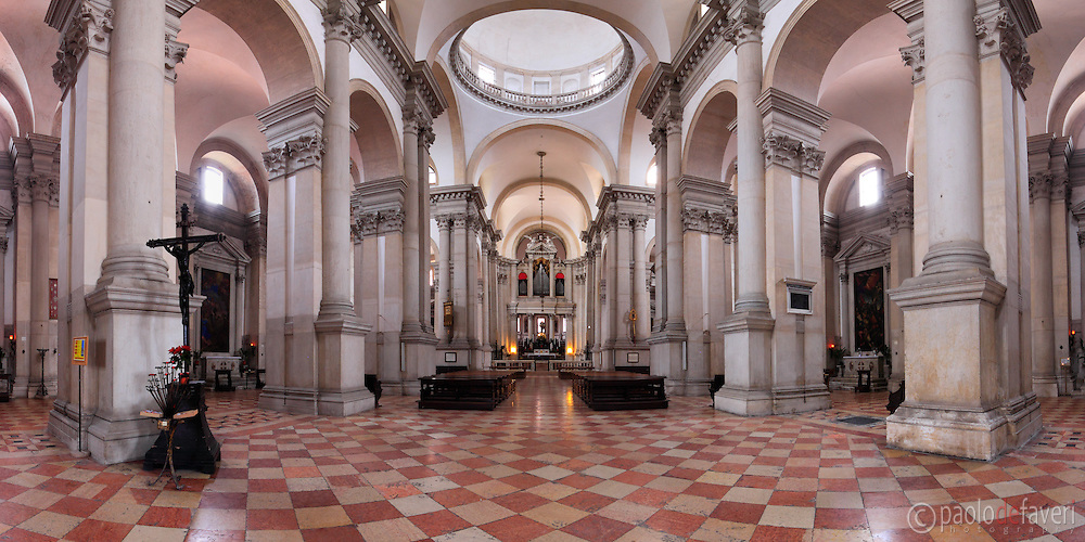 A panoramic view of the nave and the two aisles of the San Giorgio Maggiore Cathedral in Venice, Italy. Stitched from seven vertical frames.