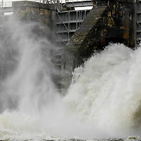 Duke Energy's Lake Wylie Dam open floodgates after flood event