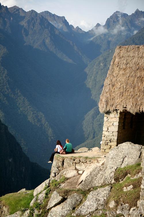South America, Latin America, Peru, Machu Picchu. The Gatehouse overlooking the citadel.