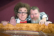 Musical Moments for Clown and Pianist (World Premiere) by Paul Barker performed by Alban Coombs piano and.Gorgonio (Marcelo Beré), co-directorS: Leo Sykes & Paul Barker. Picture features Alban Coombs & Gorgonio (Marcelo Beré).