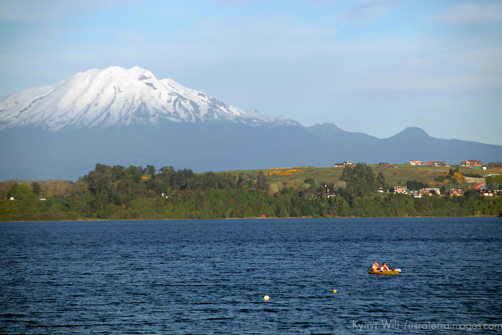 South America, Chile, Puerto Varas. Llanquihue Lake and Mt. Calbuco.