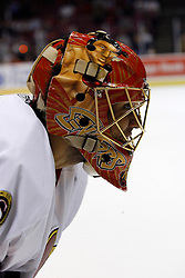 Apr 3, 2007; East Rutherford, NJ, USA; Ottawa Senators goalie Ray Emery (1) takes a break during the third period at Continental Airlines Arena in East Rutherford, NJ.