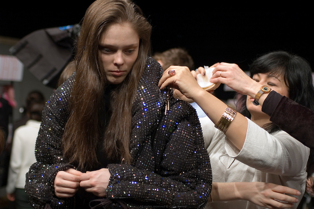 getting models ready backstage before Ungaro fashion show