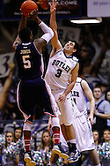 INDIANAPOLIS, IN - FEBRUARY 19: Jerry Jones #5 of the Duquesne Dukes shoots the ball as Alex Barlow #3 of the Butler Bulldogs defends at Hinkle Fieldhouse on February 19, 2013 in Indianapolis, Indiana. Butler defeated Duquesne 68-49. (Photo by Michael Hickey/Getty Images) *** Local Caption *** Jerry Jones; Alex Barlow