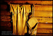 Elkskin dress & cradleboard similar to Sacagawea's hang inside Fort Clatsop, Lewis & Clark's 1805-6 winter post; Astoria, Oregon