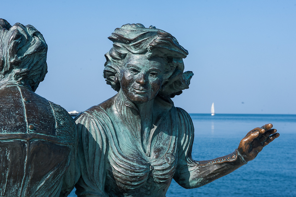 Le Sartine bronze sculpture in Trieste, one of the symbols of the city, representing two girls knitting on the waterfront