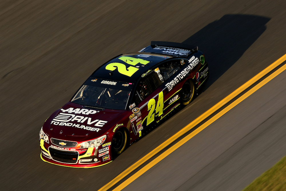 Feb 15, 2013; Daytona Beach, FL, USA; NASCAR Sprint Cup Series driver Jeff Gordon (24) during a practice session for the Sprint Unlimited at Daytona International Speedway. Mandatory Credit: Douglas Jones-DDJ Sports Imaging