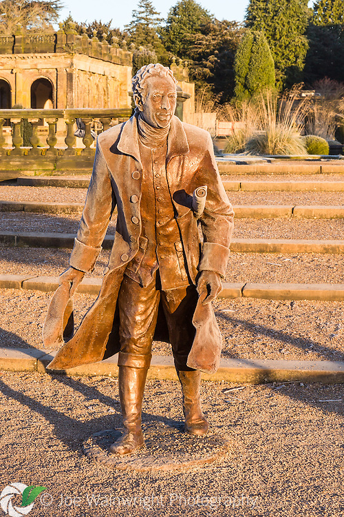 A full figure statue of Capability Brown, designer of the landscape at Trentham Gardens, Staffordshire, pictured in the Italian Garden. It was sculpted by Laury Dizengremel and photographed in January.