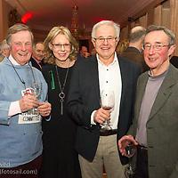 (l to r) Richard Lovegrove, Ann Kirwan, Tony Kirwan, and John Dunlop at the reunion night to celebrate 50 years of the Irish Fireball Class, held at the Royal St George YC.