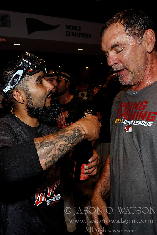 SAN FRANCISCO, CA - OCTOBER 02: Sergio Romo #54 of the San Francisco Giants celebrates with manager Bruce Bochy #15 after the game against the Los Angeles Dodgers at AT&T Park on October 2, 2016 in San Francisco, California. The San Francisco Giants defeated the Los Angeles Dodgers 7-1. (Photo by Jason O. Watson/Getty Images) *** Local Caption *** Sergio Romo; Bruce Bochy