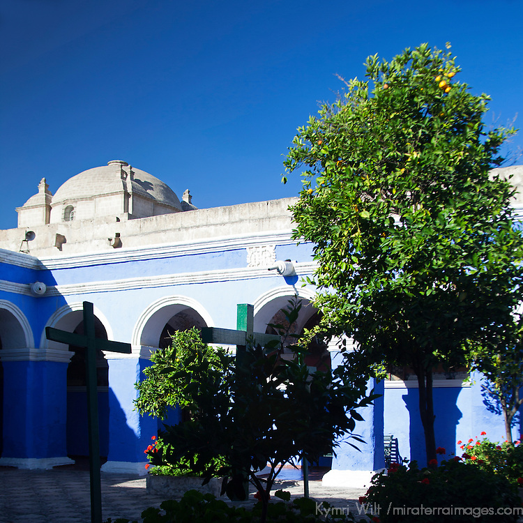 South America, Peru, Arequipa. Cloister of the Orange Trees at Monasterio de Santa Catalina.