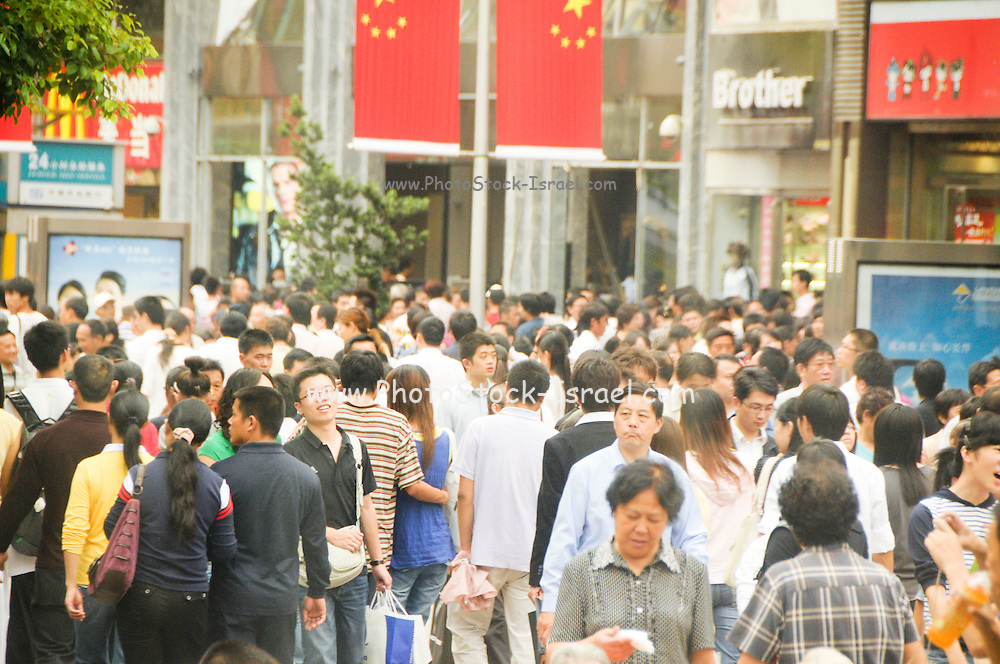 China, Shanghai crowds shopping at Nanjing Street
