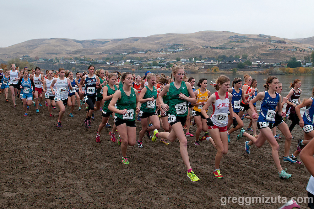 The start of the Idaho High School Cross Country State 5A Championships on October 27, 2012 at Hells Gate State Park in Lewiston, Idaho.